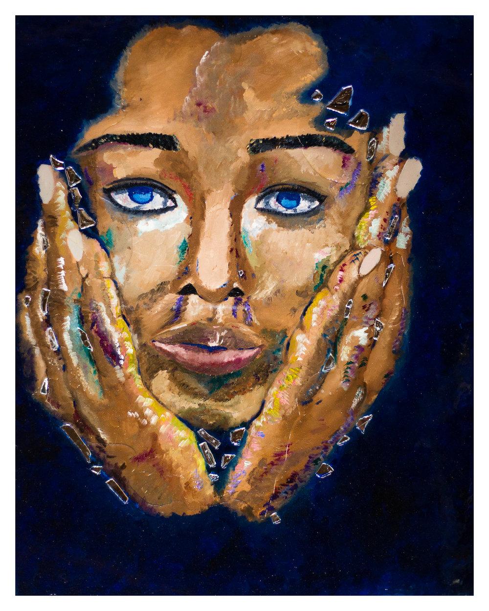 1. Fefe - The Bluest Eye - 24 x 30 - OilMirrorResin on Canvas - 2017 - $1,000.jpg