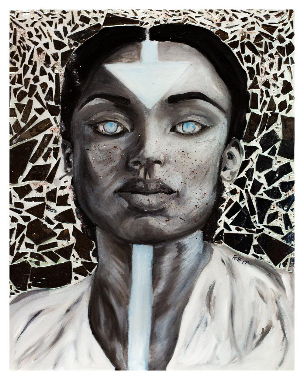 6. Fefe - Beautiful Sadness - 24 x 30 - OilMirrorResin on Canvas - 2017 - $1,200.jpg