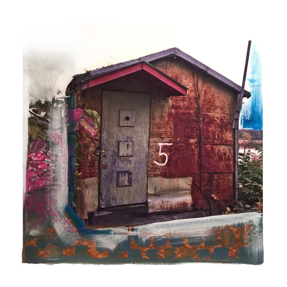"5 Gail Garcia - ""NUMBER 5_ - 2018 - Mixed Media on Canvas - 30_x30_ - Framed Original - $1800.jpg"