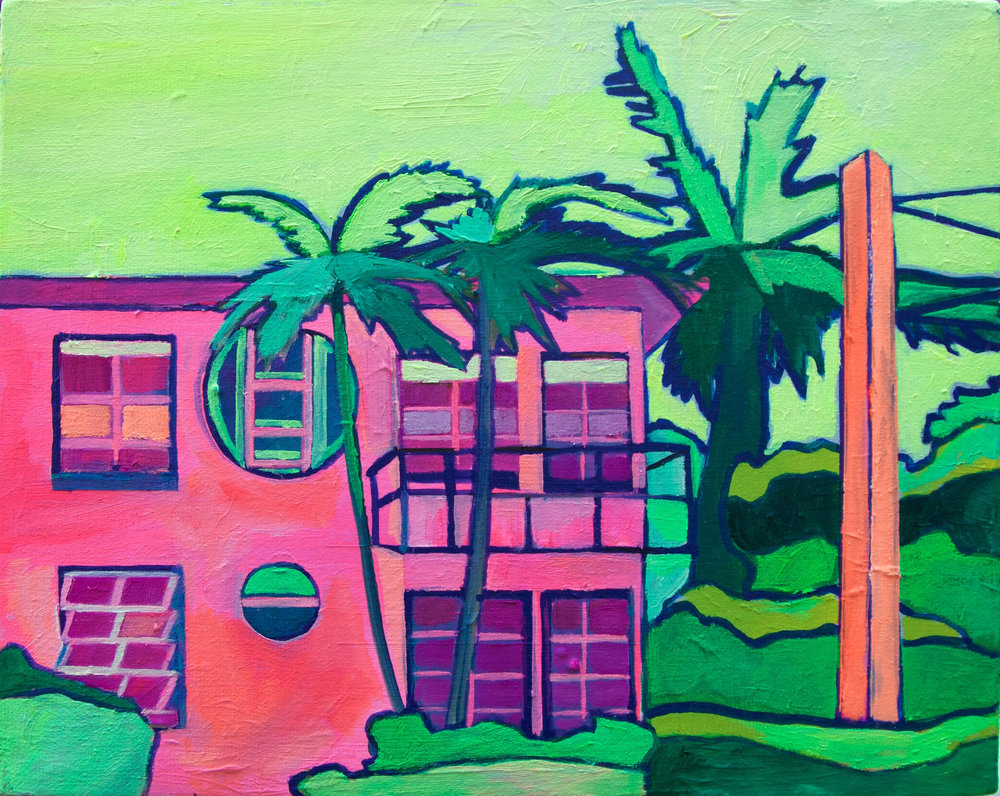 8 Julie Gross_Neon Pink House_8x10_oil on Canvas_2017_$350.jpg