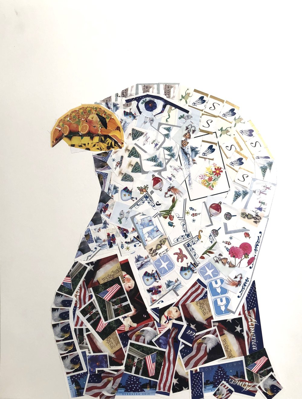 7 MAURO SOGGIU-_EAGLE_-14X11 INCHES-STICKERS COLLAGE ON PAPER-2017-$600.JPG