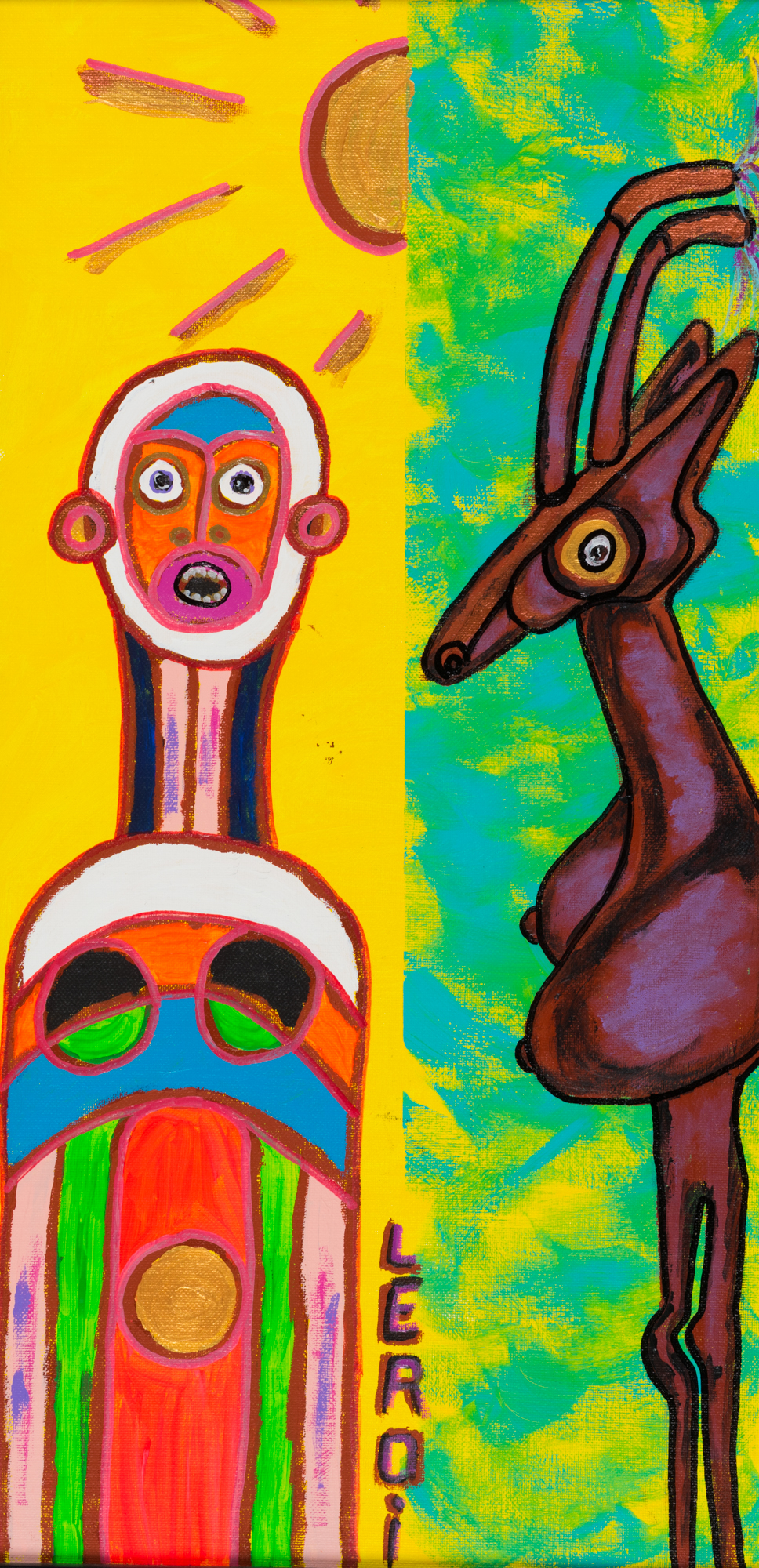 _14_LEROI_Colored Person and Animal_2010_Oil and acrylic on board_24x12 inches_$2,500.jpg