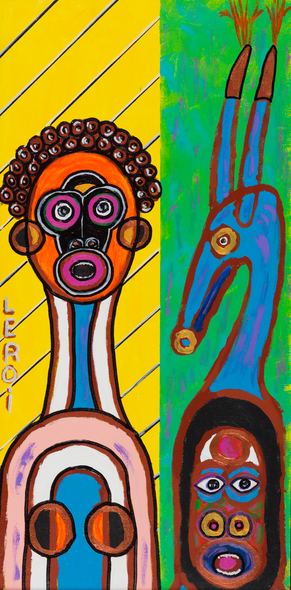 _15_LEROI_Colored Man and Chi Wara_2010_Oil and acrylic on board_24x12 inches_$2,500.jpg
