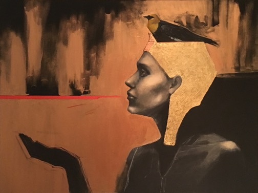 Ceres-E.M.Castonguay-_Yellow-headed Blackbird (Endangered body of work)_-30_x 38_x 2_-Acrylic _ Gilding-2017-$3600.jpeg