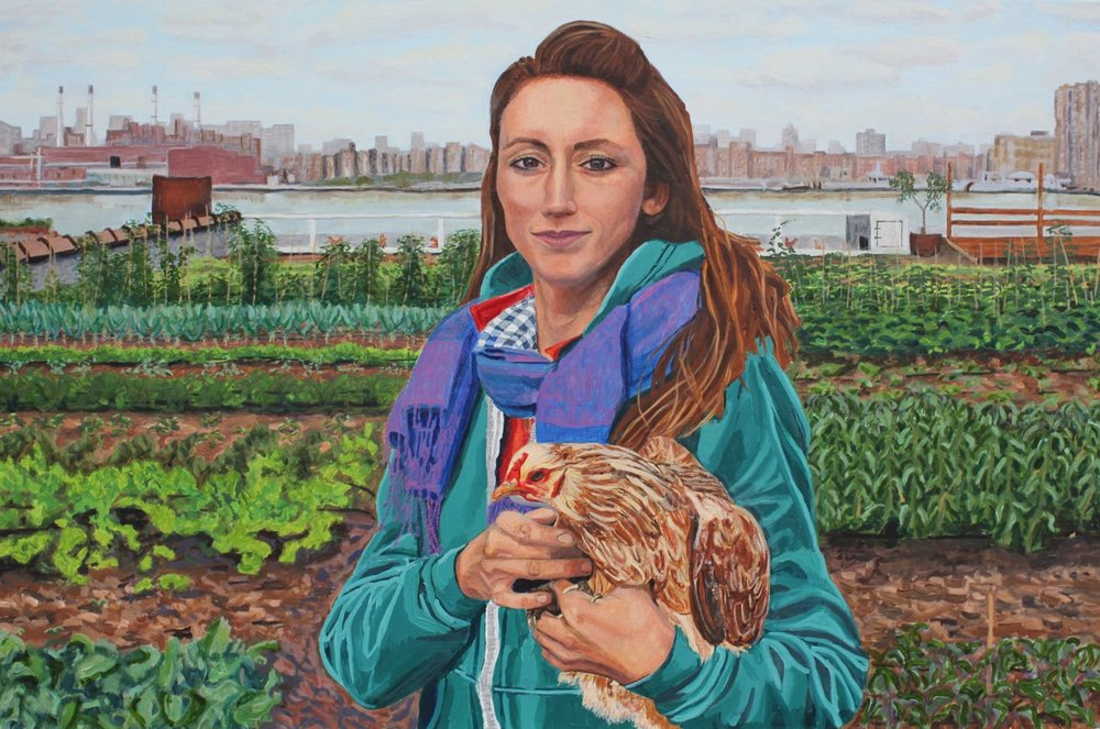 "Ceres-Elizabeth Downer Riker- ""Annie and Her Chicken"" - 20"" x 30"" - oil on canvas - 2017 - $2000.jpeg"