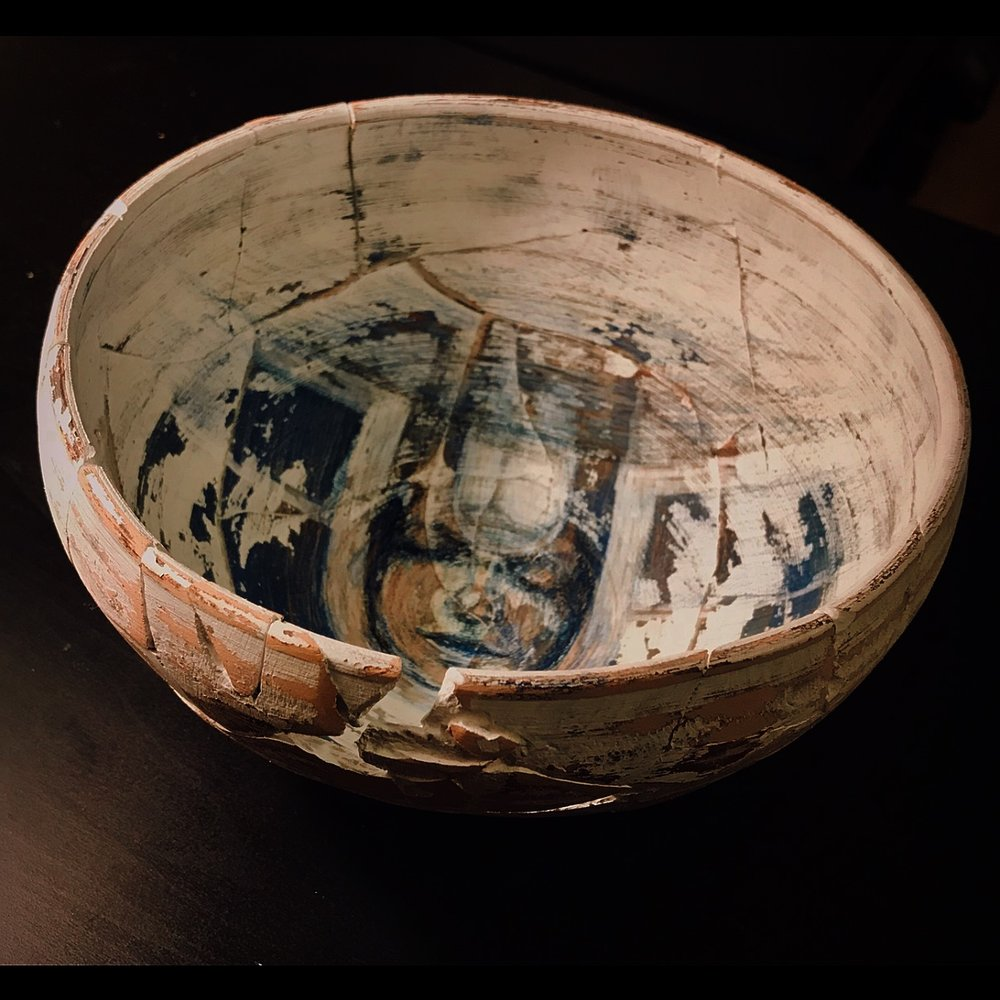 Hadieh Afshani_Land Conection-Home, Mixed media on ceramic,10x10x7 inches, $350.jpg