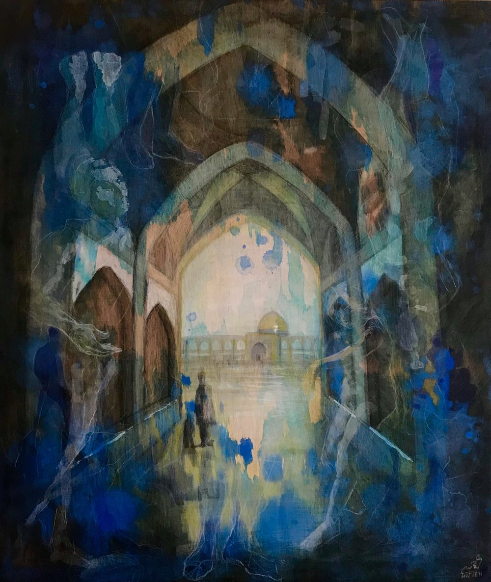 Hadieh Afshani-Land Conection-Isfahan II, Mixed media on plywood, 18x21 inches, $600.jpg