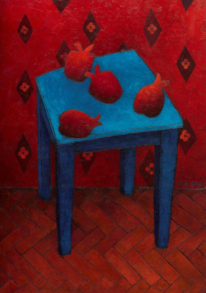 Pomegranates on Blue Chair.100x70,oil on canvas, 2018.jpg