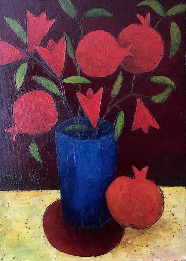Pomegranates on Vase.35x25oil on canvas, 2018.jpeg