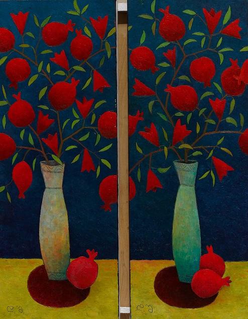 Pomegranates. 80x40 each part),oil on canvas,2017.jpg