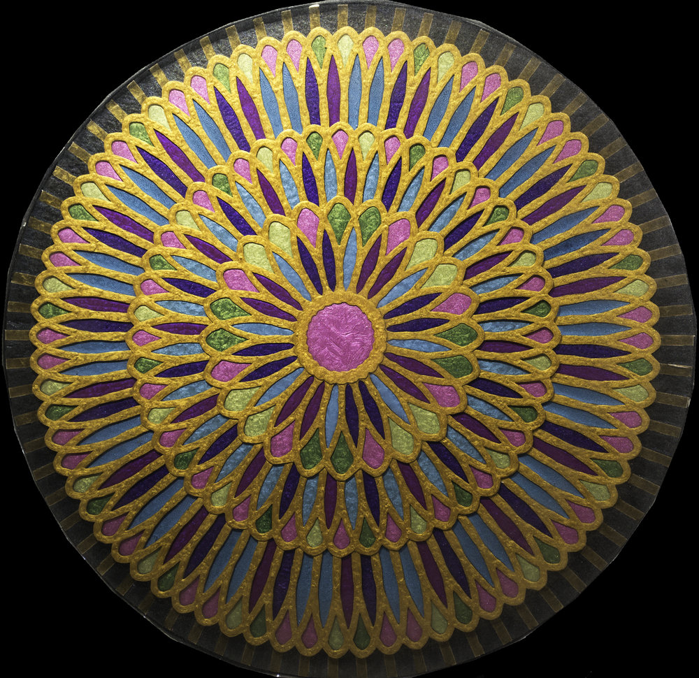 1  Electric Daisy 2.0_30in diameter circle_Acrylic Oil Paint and ArtResin_$4500.jpg