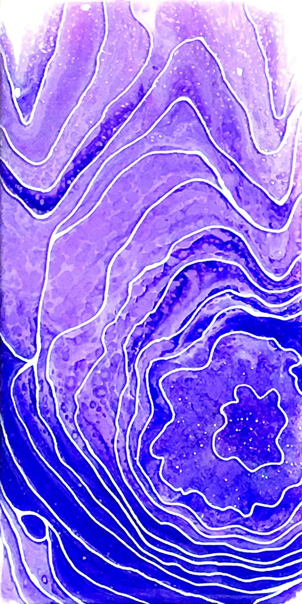 9 HUEGallery_AEvans_Sparkling Sugilite_6x12_AcrylicAndResinOnBirchPanel_2018_$250.jpg