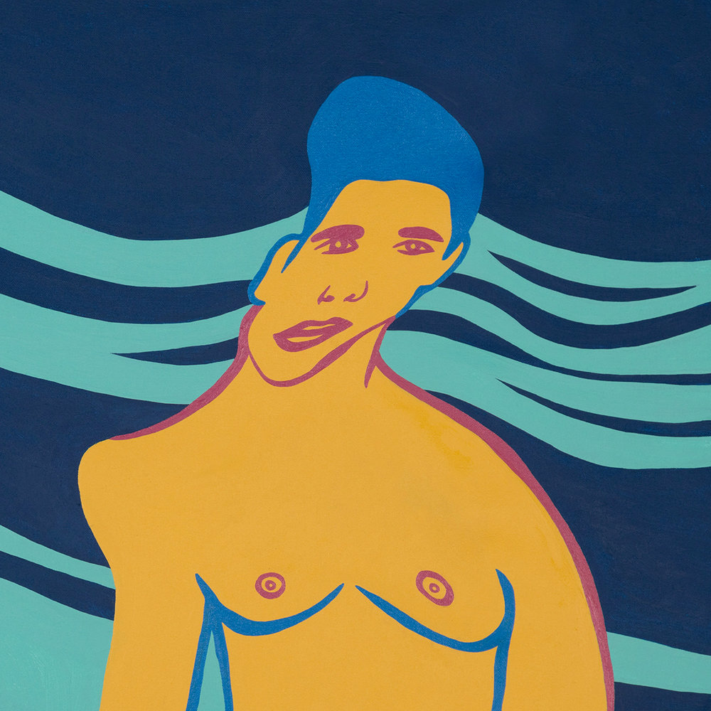 """""""Wave Boy"""" is a charmer, like a cross between a young Duke Kahanamoku and a mysterious dreamboat. A great example of Kenneth's work for an entry-level collector."""