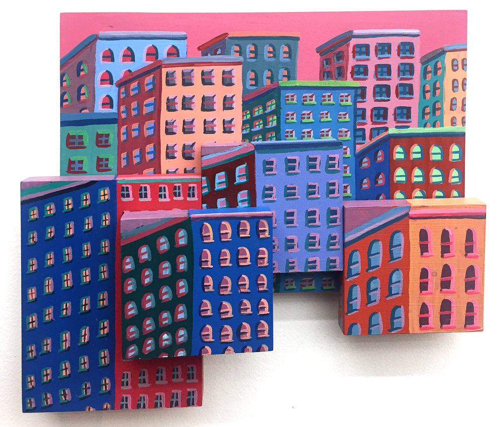 Own a piece of New York City through the eyes of a talented illustrator and painter. Last year, John built our house installation at Superfine! out of these buildings and here you can take a miniature version of it home with you.