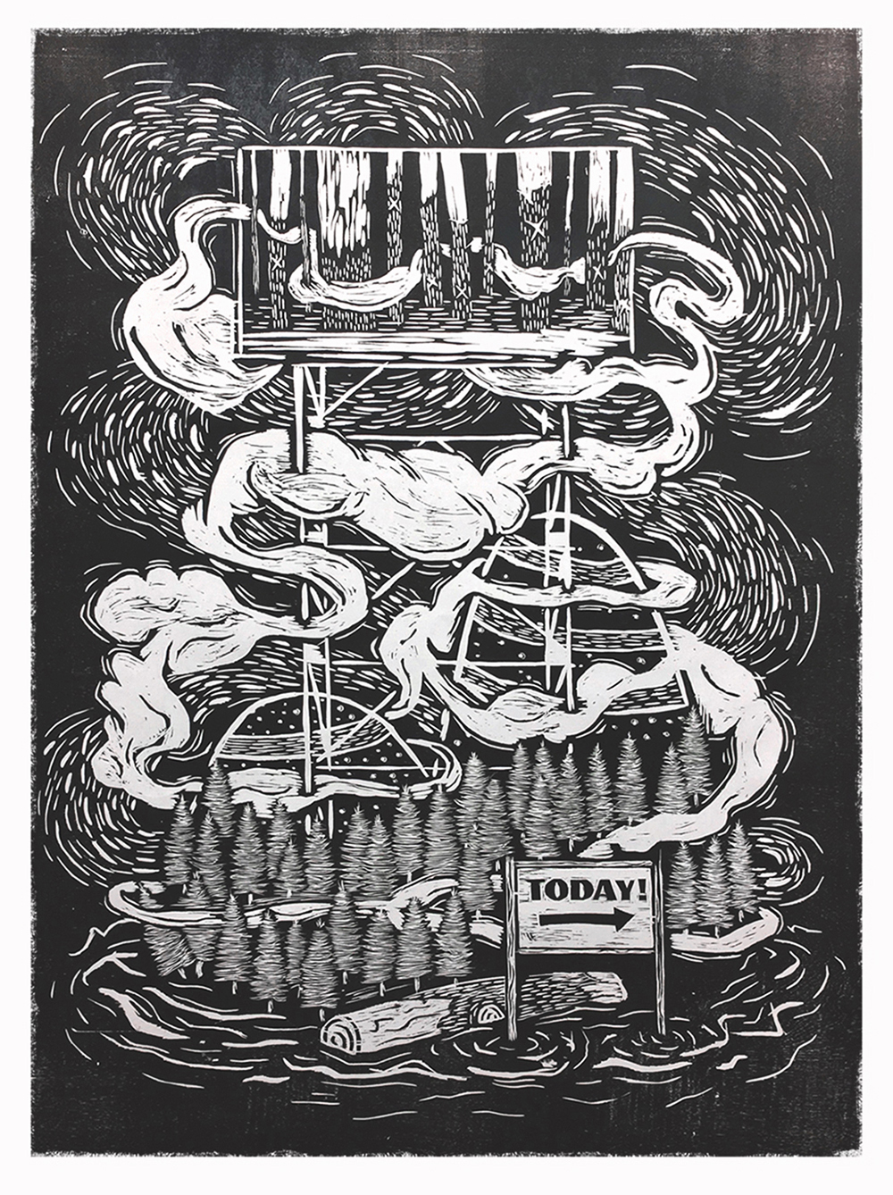 I love all of the works Landon is showing at Superfine! but this one strikes a cord. It's intricate, story-drive,and who can resist a woodcut?