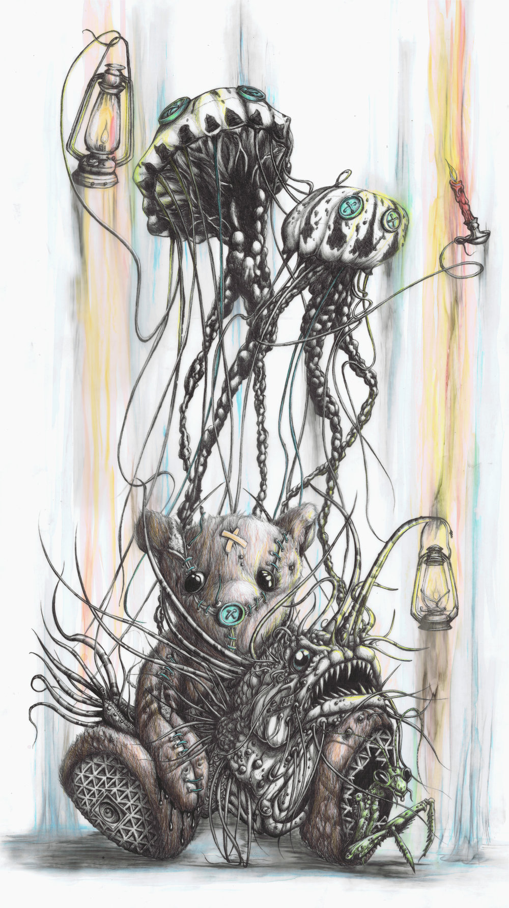 Who ever thought a ballpoint pen could bring forth so many incredible, nested figures? I can barely write my name. In the hand of a master like Tai, a grasshopper and an anglerfish emerge from a slightly worse-for-the-wear teddy and it all works.