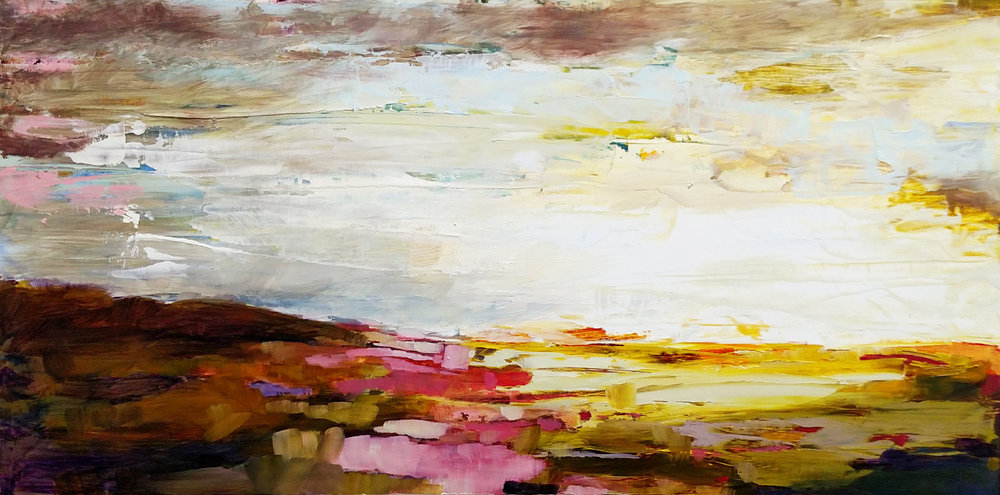 The same pastoral beauty of Nicole's larger oils is found here but in a more compact size and price, with the same impact. A great buy for an emerging abstract collector who wants to feel a keen sense of nostalgia every time they look at their wall.