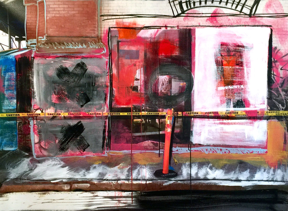 "3 Gail Garcia - ""SOHO PINK_ - 2017 - Mixed Media on Canvas - 46_x34_ - Framed Original - $2400.jpg"