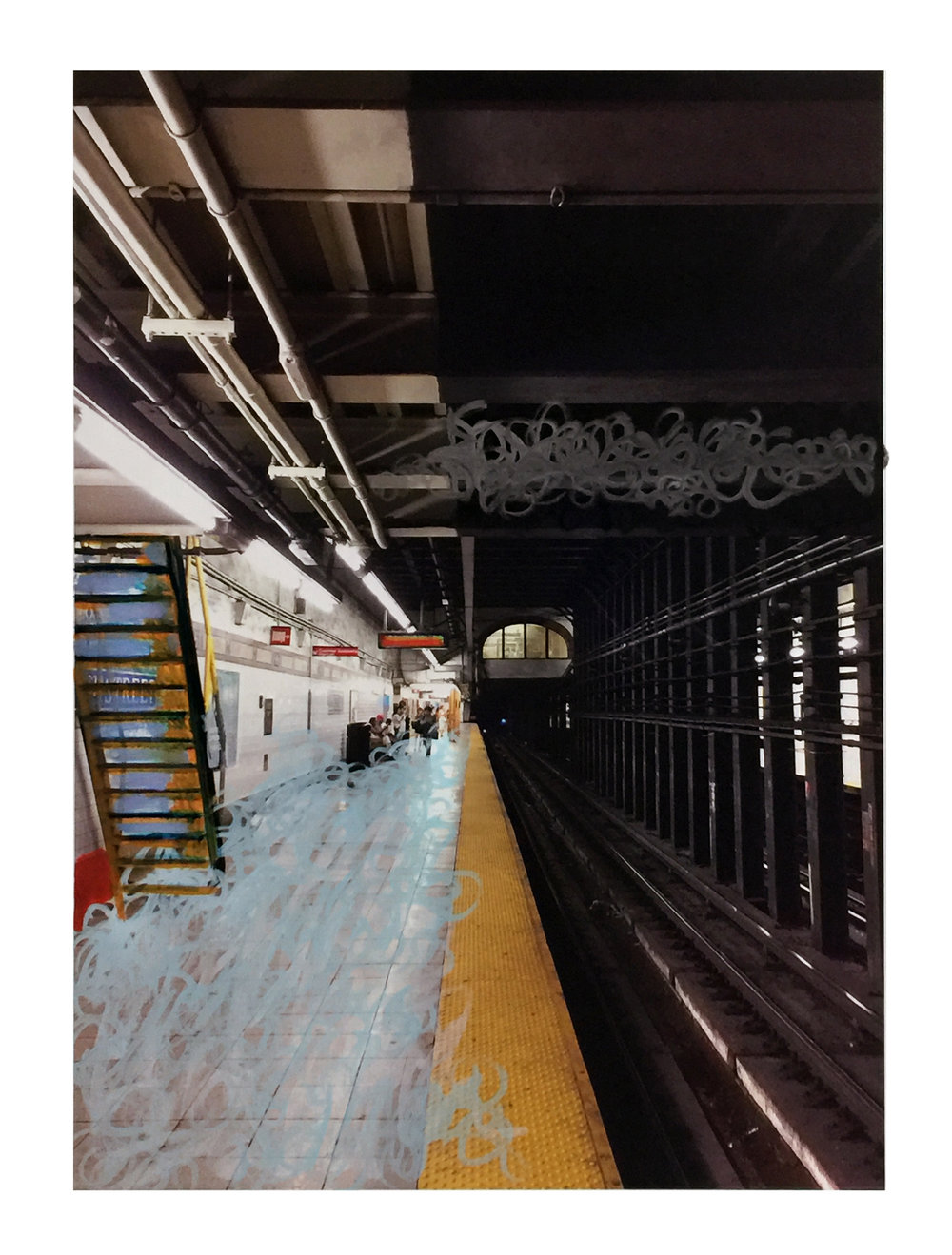 "7 Gail Garcia - ""SUBWAY_ - 2017 - Mixed Media on Canvas - 30_x40_ - Framed Original - $2200.jpg"