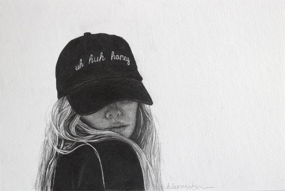 Helen Robinson-_Uh Huh Honey_-8x12inches, 12.5x15 inches framed-graphite on watercolor paper-2018-$650.jpg