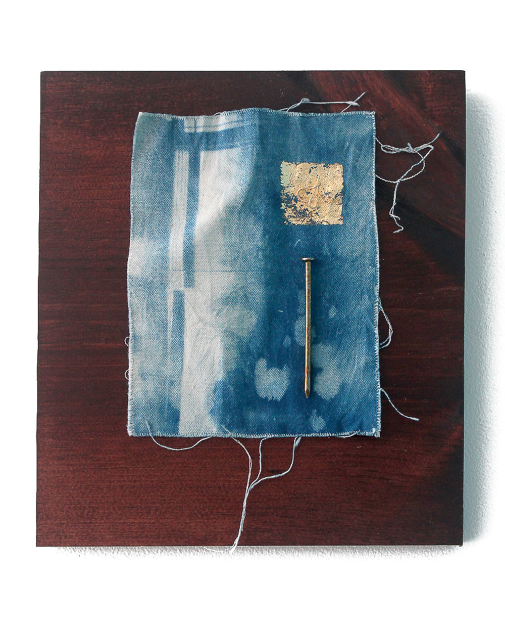 Jeremiah Morris - _A Room with a View_ - Cyanotype on cavas, gold leaf, nail, wood - 2016 - $325.jpg