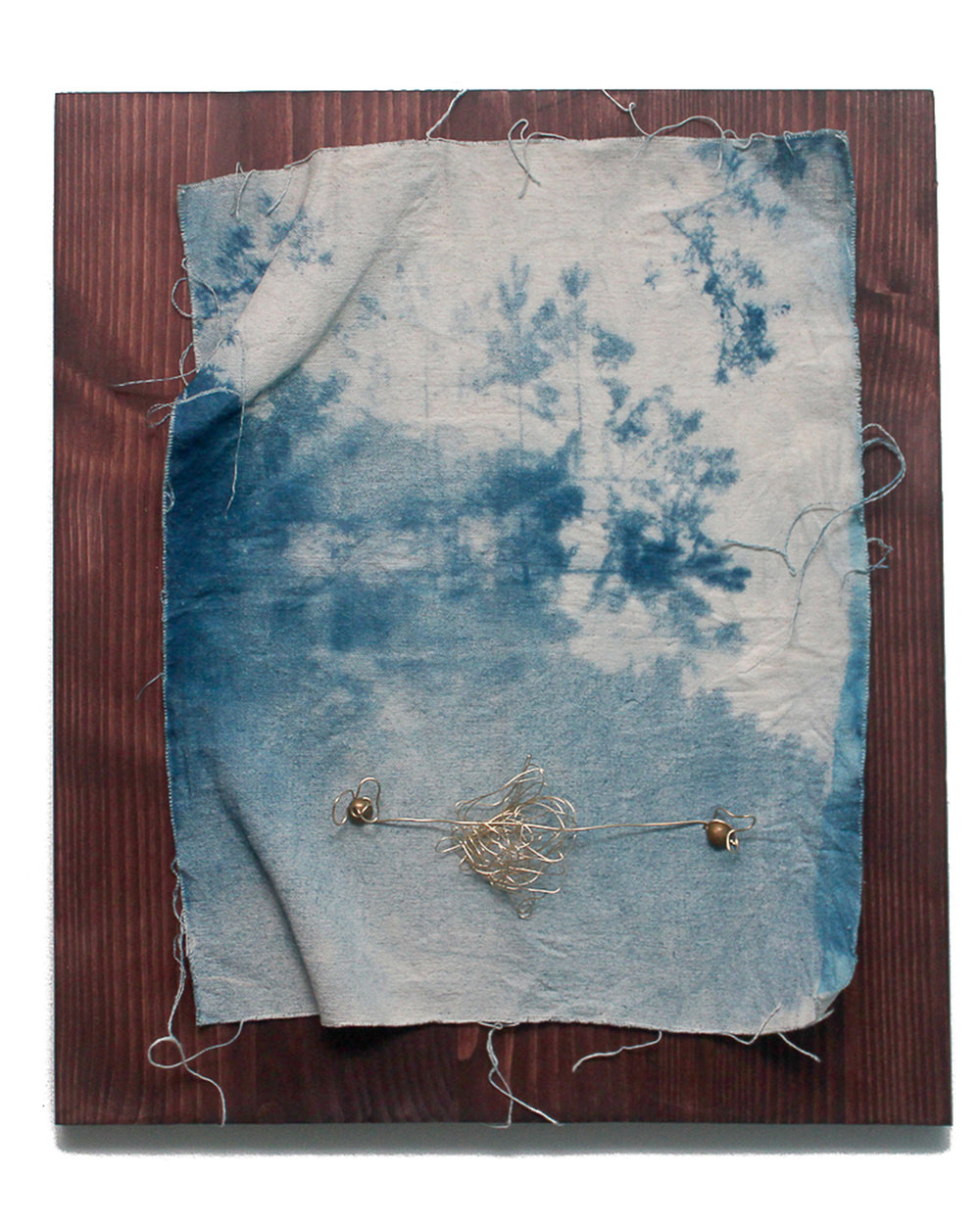 Jeremiah Morris - _Forced Perspectives_ - 16x20 - Cyanotype photographic print on canvas, brass tacks, brass wire, wood - 2016 - $650.jpg