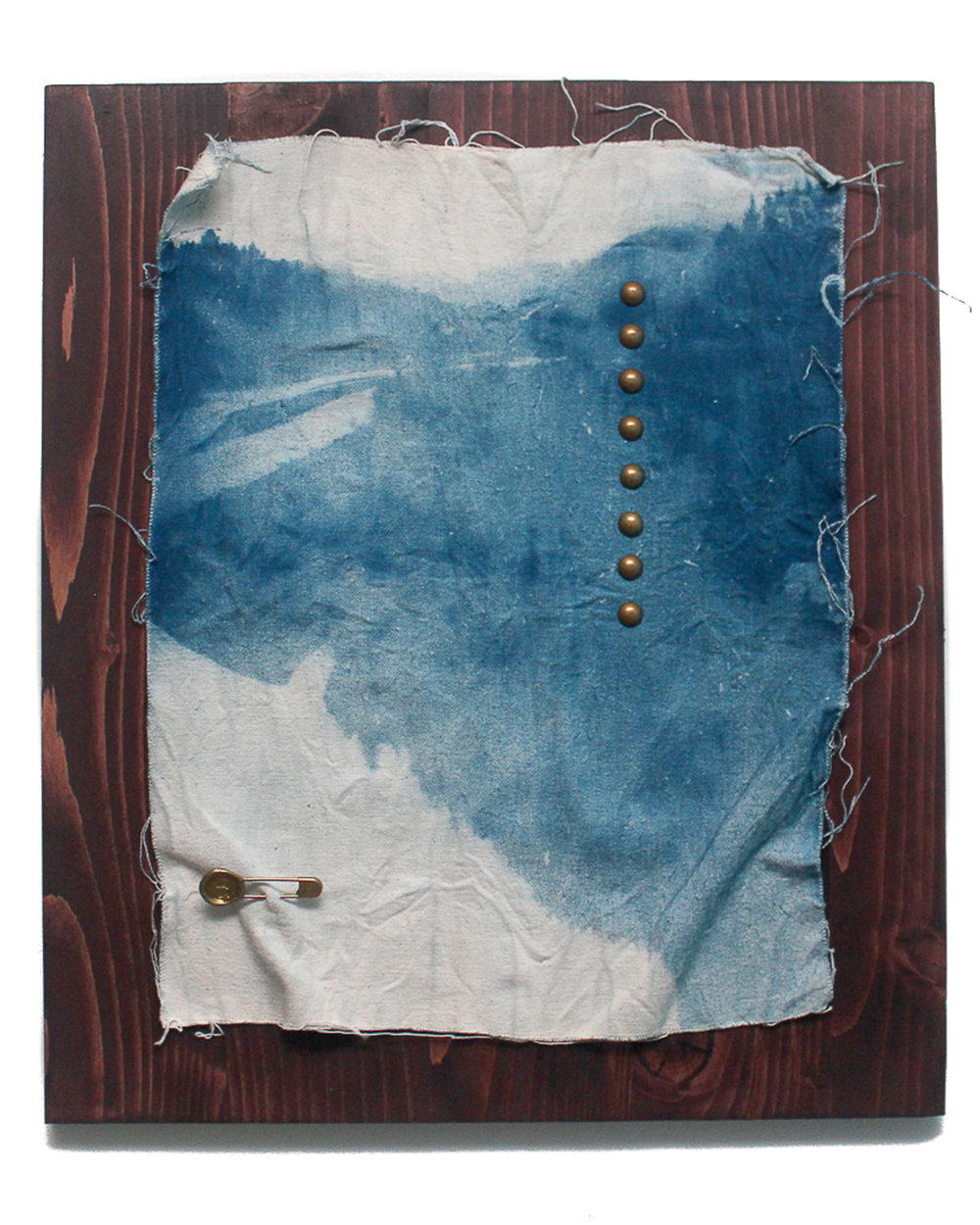 Jeremiah Morris - _Holding Together the Peaces_ - 16x20 - Cyanotype photographic print on cavas, found brass laundry pin, brass tacks, wood - 2016 - $650.jpg