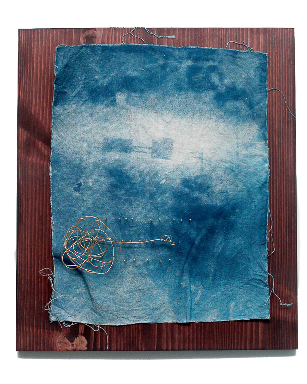 Jeremiah Morris - _Somewhere_Anywhere_ - 16x20 - Cyanotype photographic print on cavas, brass nails, brass wire, wood - 2016 - $650.jpg
