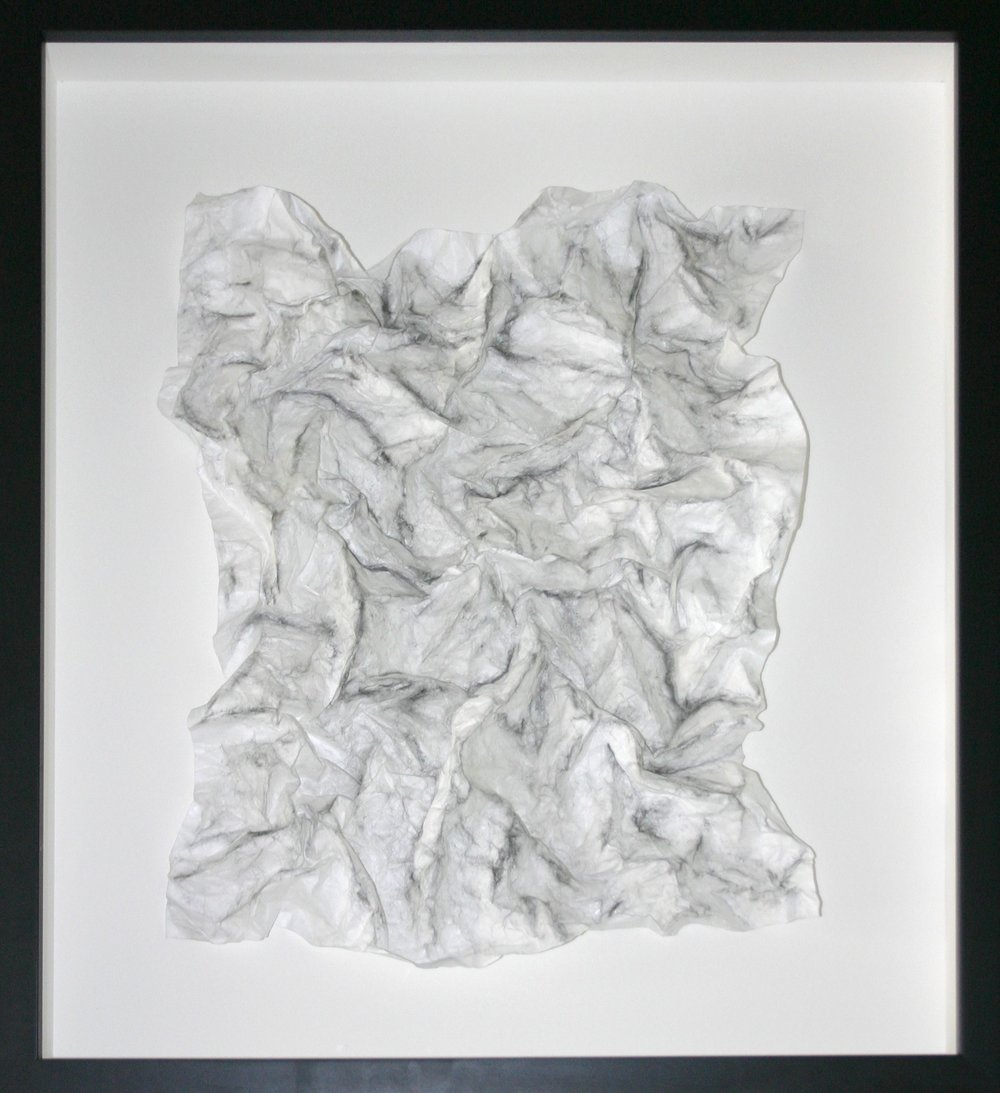 Kelly Moeykens_Peaks and Valleys_Tyvek, Graphite sculputre, 21.5 x 26_1000 .jpg