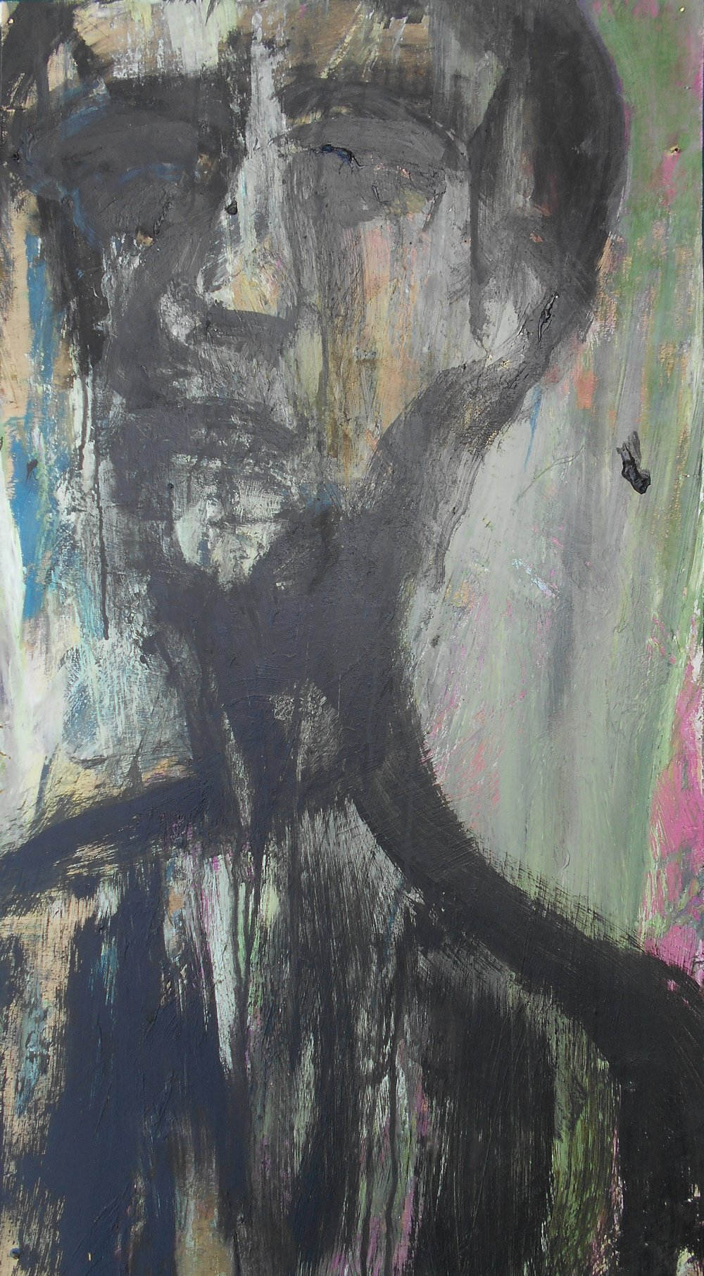 #2 Stephen Perrone- Man Described in Black - 2012 - 36x18 - a on wood - $1500.JPG