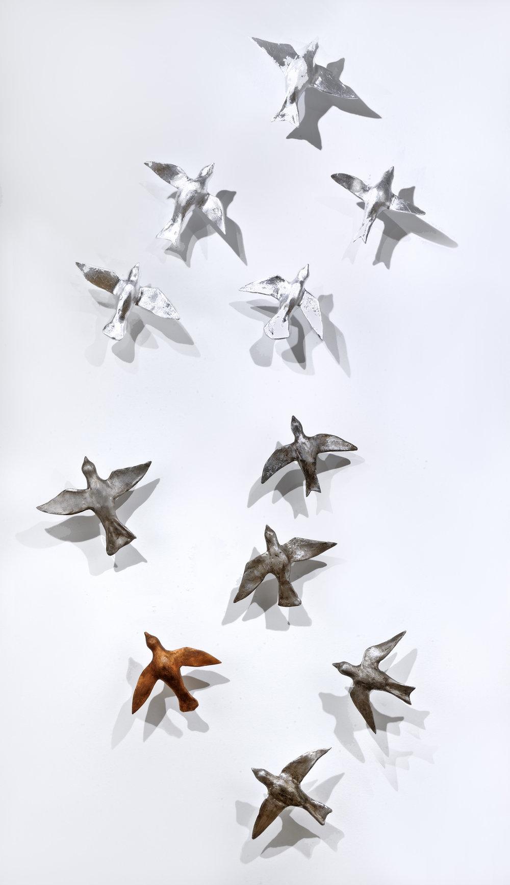Hostetler_Sunlit Birds_2017_clay with metal leaf_7x3ft_$2,500.jpg