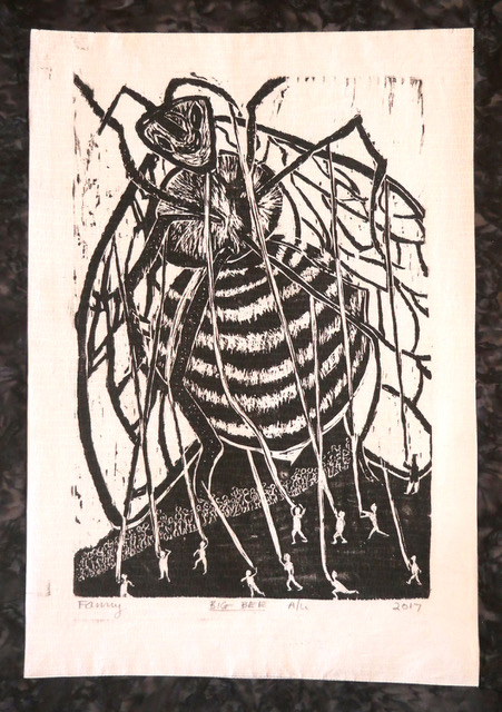 ASM_Fay Stanford_Big Bee_30x18_woodcut on cotton_300.jpg