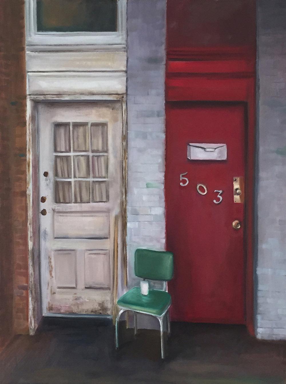 GalleryOonH-Cathy Abramson-White Door, Red Door-2016-Oil on Canvas-18x24-1900.jpg