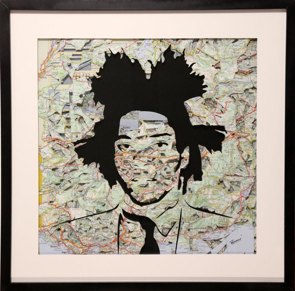 GalleryOonH-Joanathan Bessaci-Basquiat 2-2017-Michelin maps and glass-20x20-1500.jpg