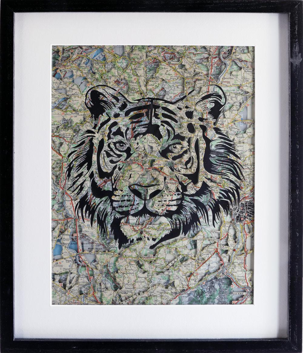 GalleryOonH-Joanathan Bessaci-Tiger-2018-Michelin maps and glass-16x20-1200.JPG