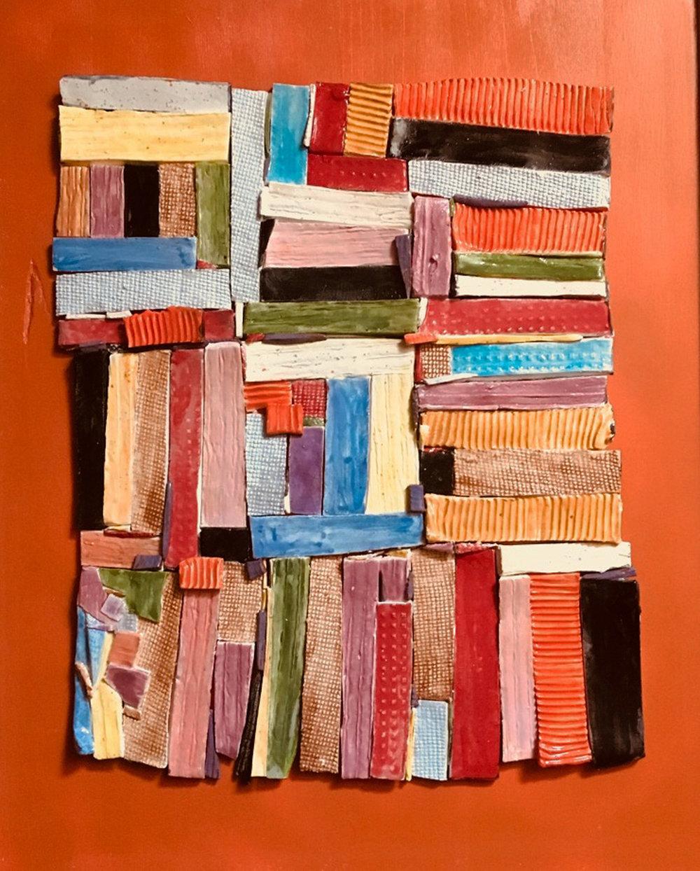 GalleryOonH-Kasse Andrews Weller-Tribute to Gees Bend Quilt 1-2018-Ceramic-21x25-500.jpg