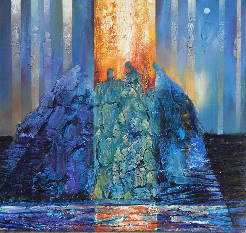 Zenith Gallery- Hubert Jackon-Water Protectors-2018-acrylic and mixed media on canvas- 32h x 32w- $4000.jpg
