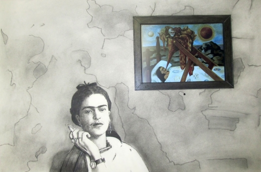Zenith Gallery- Lennox F. Campello- Frida Smoking-2017-Charcoal and conte on paper with embedded electronics - 27h x 37w-$3,500.jpg