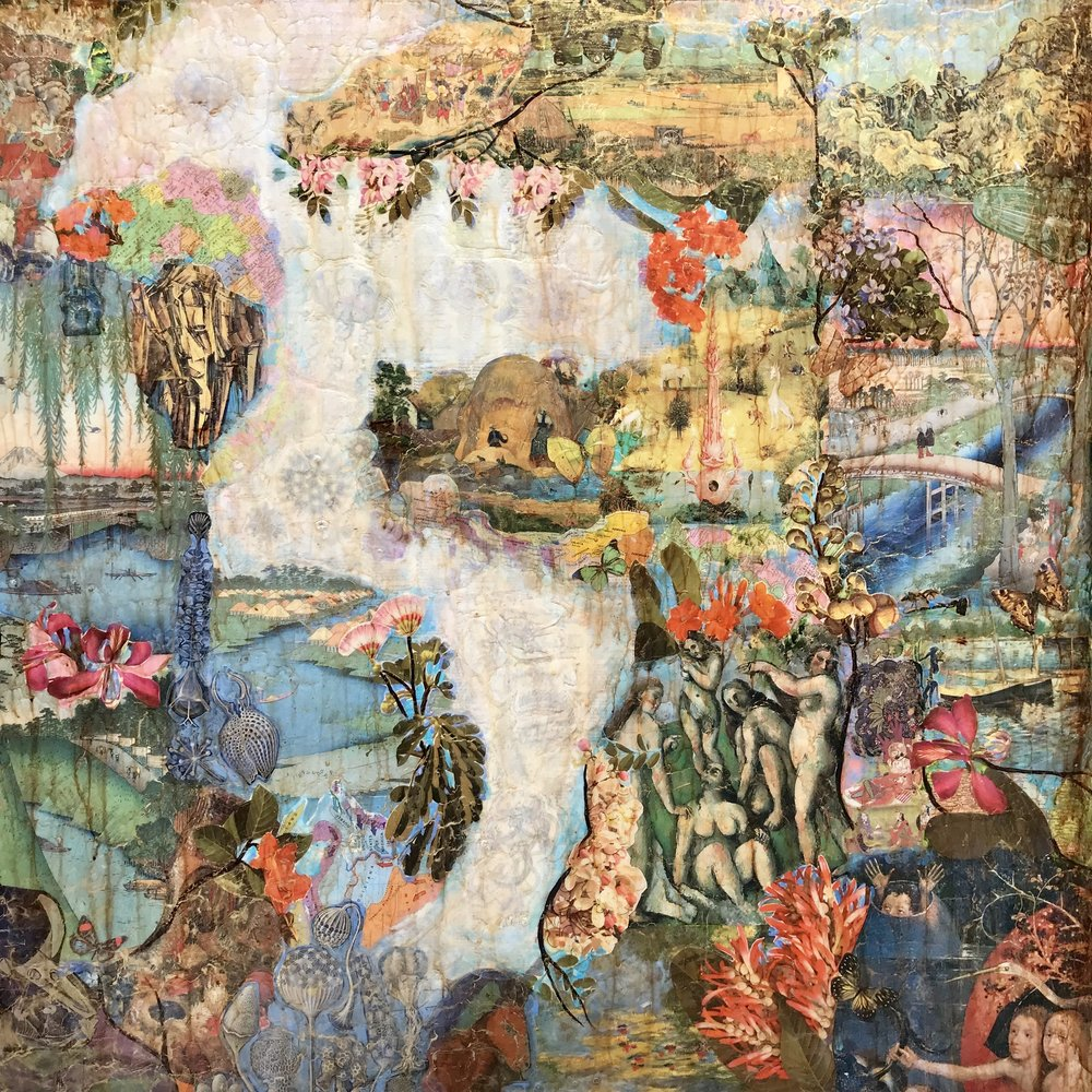 Zenith Gallery-Suzy Scarborough-Floating Gardens-2018-36 x 36-Arcylic _ Collage on Wood-$2,600.jpg