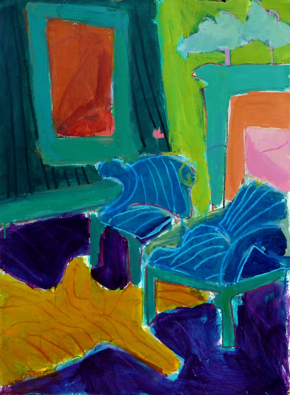 Linda Bankerd_Interior with Blue Chairs_2016_Acrylic on canvas_30_ x 22__$550.jpg
