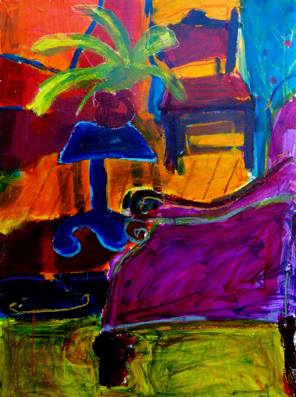 Linda Bankerd_Interior with Magenta Chair_2016_Acrylic on canvas_30_ x 22__$550.jpg