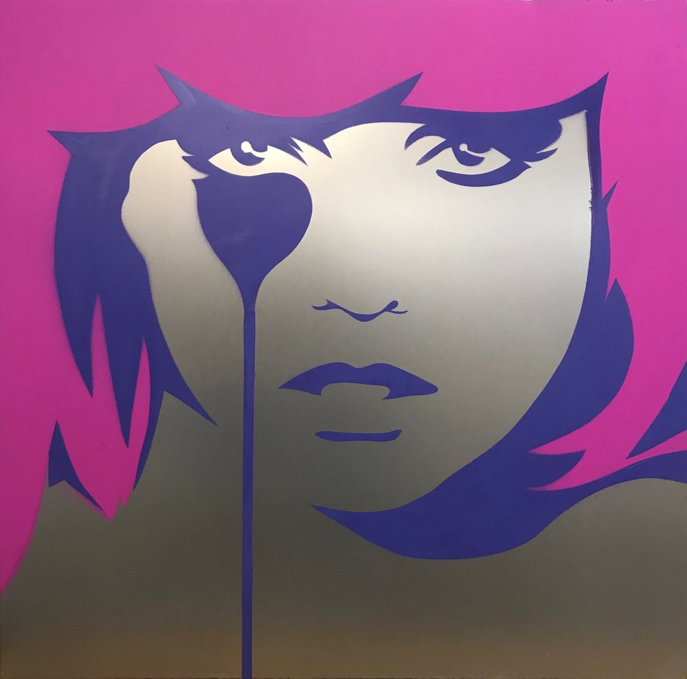 Cindy Lisica Gallery - Charles Uzzell Edwards AKA PURE EVIL - _Blondie on Steel_ - 30 x 30 inches - stencil spray paint on steel - 2018 - $2000.JPG