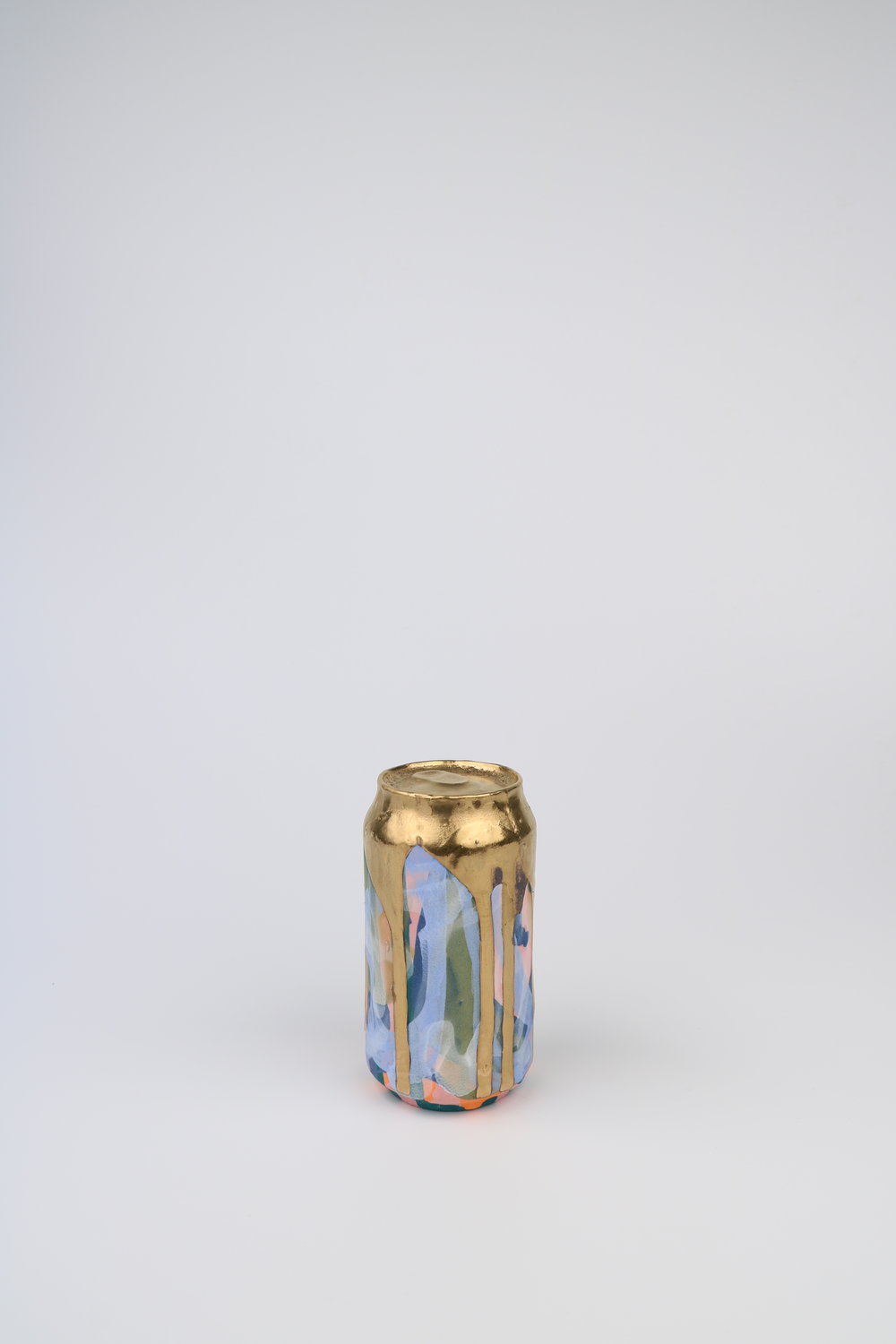 Cindy Lisica Gallery - Jeff Schwarz - _Beer Can_12_ - ceramic and 24kt gold lustre glaze - 6 x 3 x 3 inches - 2017 - $350.JPG