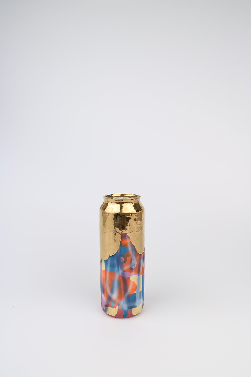 Cindy Lisica Gallery - Jeff Schwarz - _Beer Can_13_ - ceramic and 24kt gold lustre glaze - 8 x 3 x 3 inches - 2017 - $400.JPG