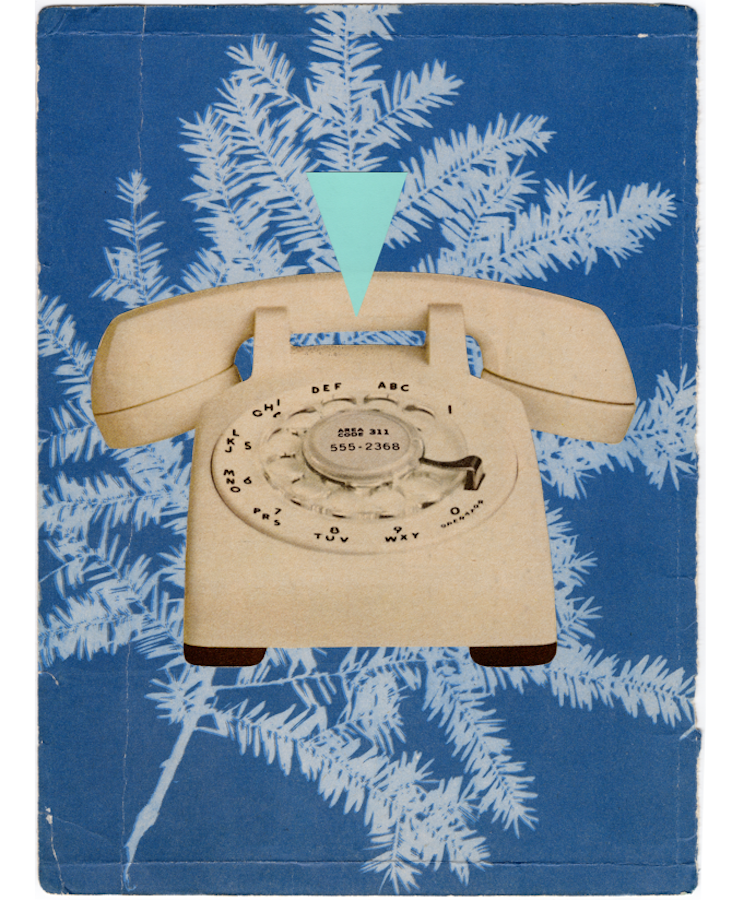Cindy Lisica Gallery - Lennox Rees - _This and That - Phone_ - 13 x 10 inches - collage and silkscreen cut-out - 2017 - $200.png