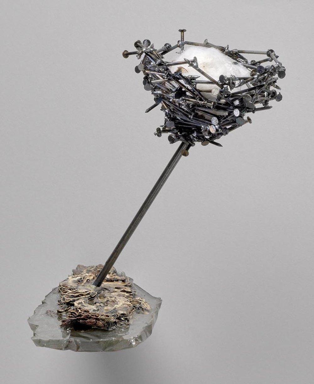 Cindy Lisica Gallery - Shang-Yi Hua - _Elevation_ - 8.5 x 10 x 14 - resin, bark, nails, cotton flower, steel - 2018 - $600.JPG