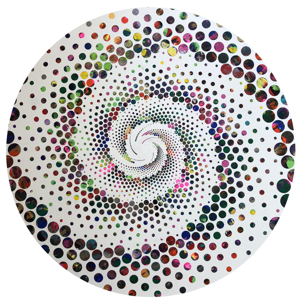 Carving Through the Psychedelic Barrel - Acrylic on wood panel - 24 circle - 900.jpg