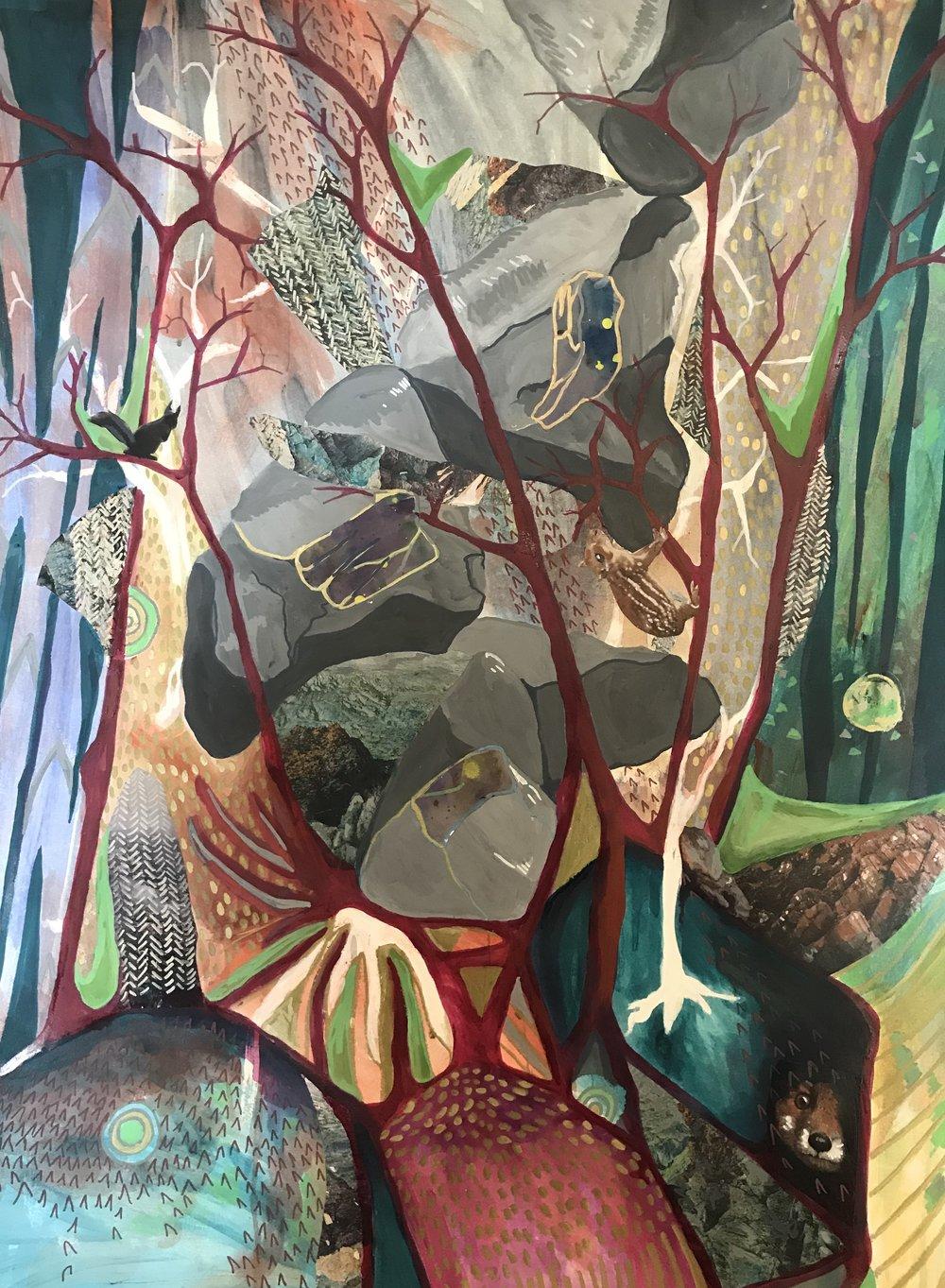 Julie Christenberry -Secret Life of Trees - 30x42 - Mixed Media - 2018 - $1500.jpg