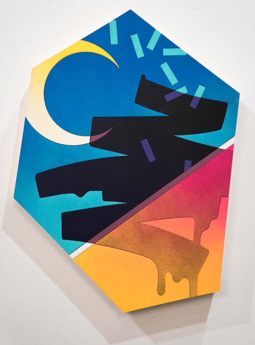 Mickael Broth Thru the cracks 24x18 Spray Paint on laser cut wood $1200.png