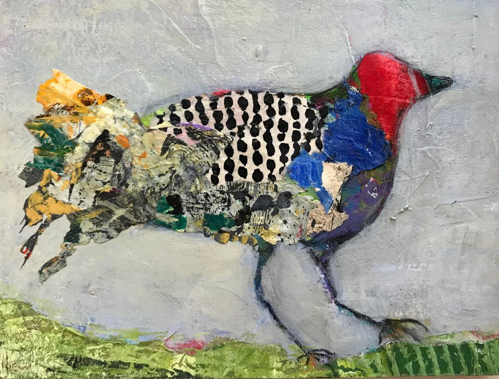 Foundry Gallery-Charlene Nield-Red-headed Claker-12x16-Acrylic with mixed media-2018-$325.jpg